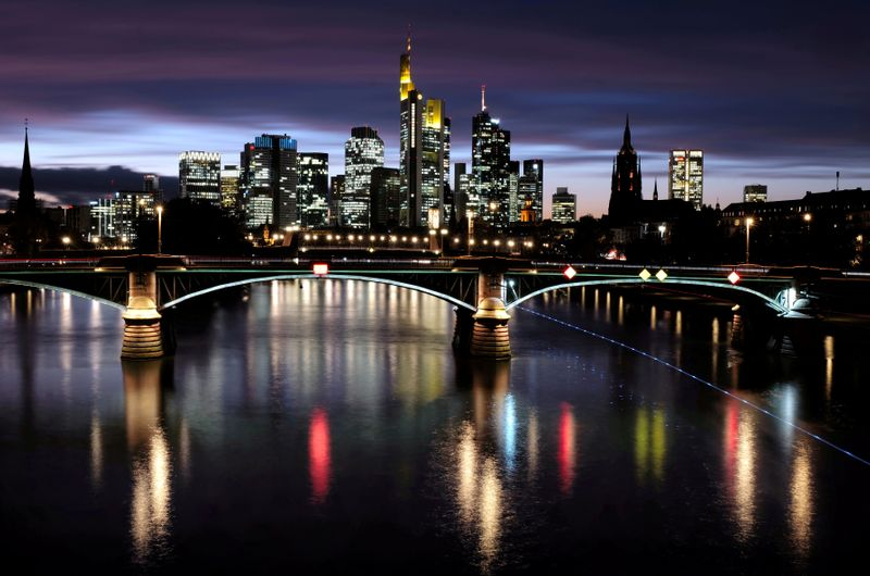 FILE PHOTO: The skyline with its financial district amid the outbreak of the coronavirus disease (COVID-19) in Frankfurt
