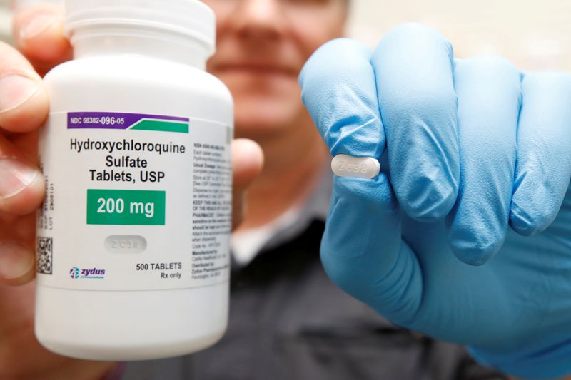 FILE PHOTO: The drug hydroxychloroquine, pushed by U.S. President Donald Trump and others in recent months as a possible treatment to people infected with the coronavirus disease (COVID-19), is displayed by a pharmacist in Provo
