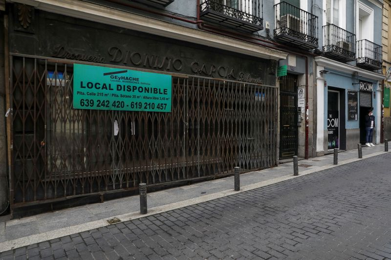 Closed-down businesses in central Madrid