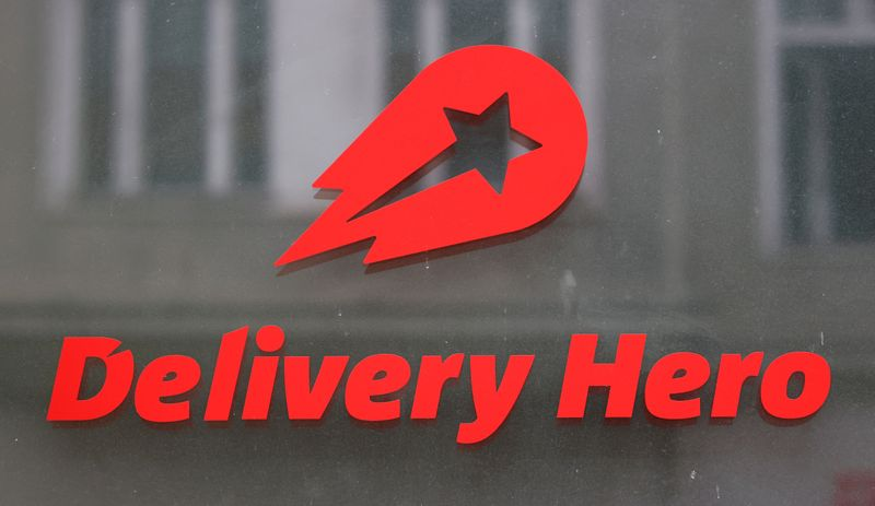 FILE PHOTO: The Delivery Hero's logo is pictured at its headquarters in Berlin
