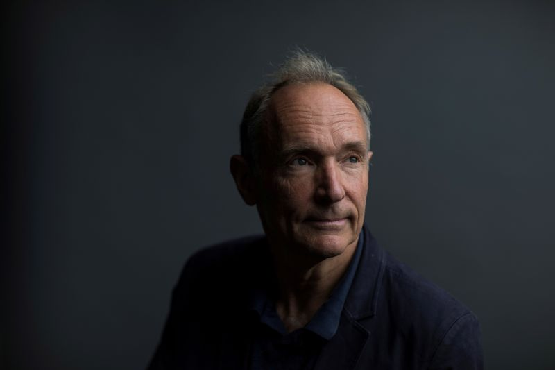 FILE PHOTO: World Wide Web founder Tim Berners-Lee poses for a photograph following a speech at the Mozilla Festival 2018 in London