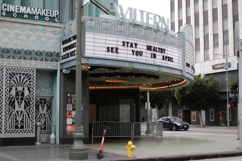 FILE PHOTO: A theater displays a closed sign during the global outbreak of coronavirus (COVID-19) in Los Angeles
