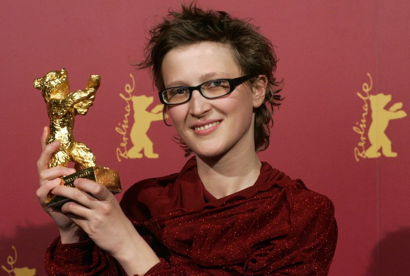 FILE PHOTO: Bosnian director Zbanic poses with her Golden Berlin Bear after the awarding ceremony at the 56th Berlinale International Film Festival in Berlin