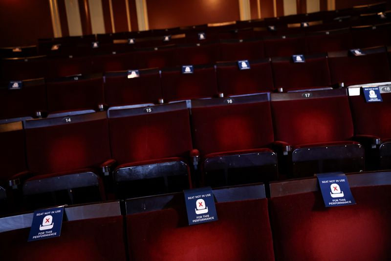 Seats with out of use signs are seen inside the Apollo Theatre, on Shaftesbury Avenue, in London