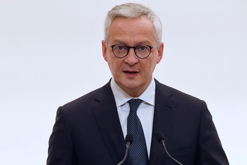FILE PHOTO: French Economy and Finance Minister Bruno Le Maire speaks during a press conference in Paris