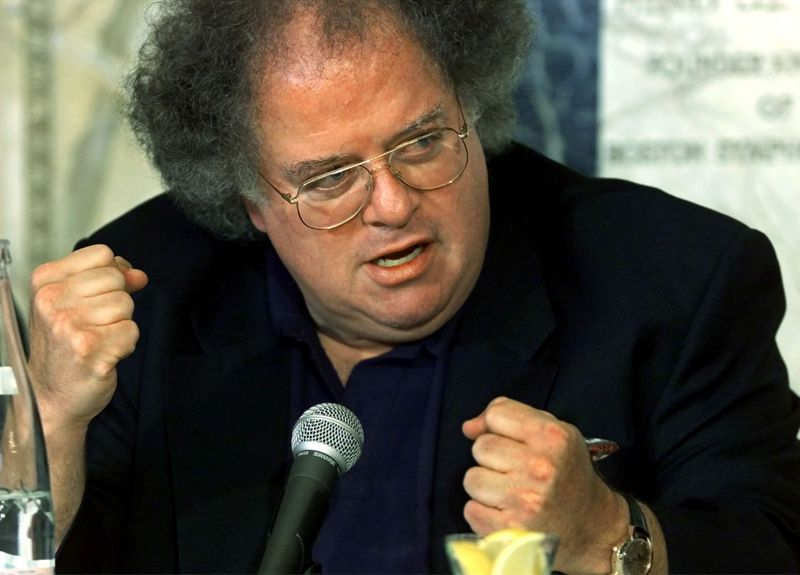 FILE PHOTO: James Levine talks about the power of symphonies after being announced as the next conductor and mus..