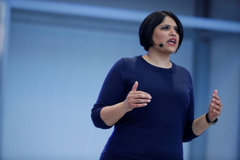 Aparna Chennapragada of Google speaks on stage during the annual Google I/O developers conference in Mountain View