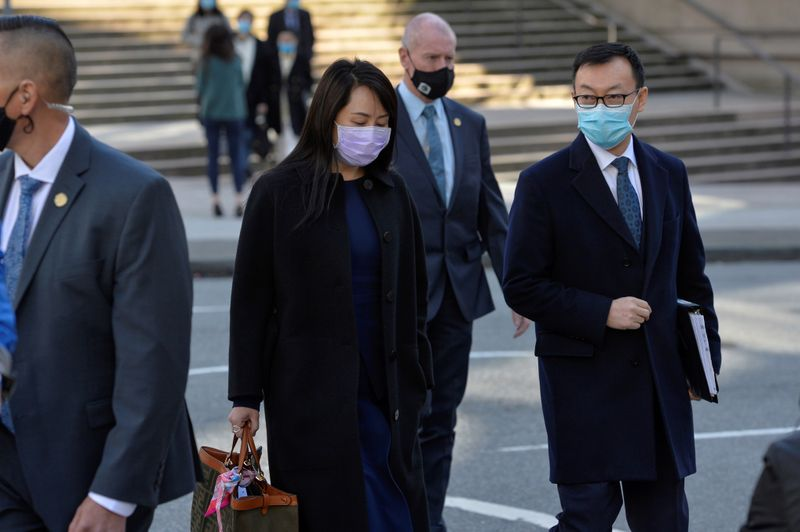 FILE PHOTO: Huawei Technologies Chief Financial Officer Meng Wanzhou leaves court on a break in Vancouver