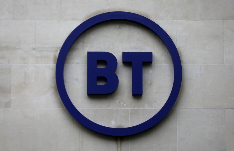 FILE PHOTO: Company's logo is displayed at British Telecom (BT) headquarters in London