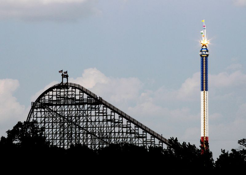 The Texas Giant roller coaster ride is seen at the Six Flags Over Texas amusement park in Arlington