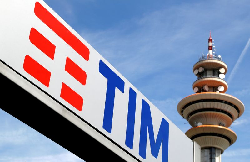 FILE PHOTO: Telecom Italia new logo is seen at the headquarter in Rozzano neighbourhood of Milan