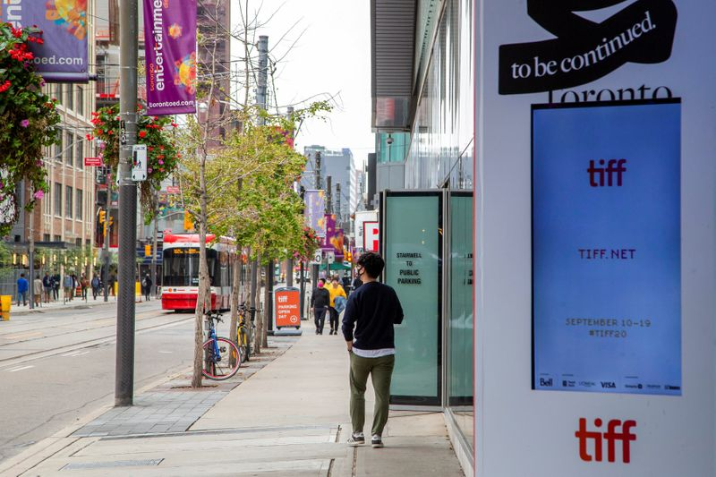 FILE PHOTO: King Street West is seen nearly empty a day before the Toronto Film Festival, in Toronto