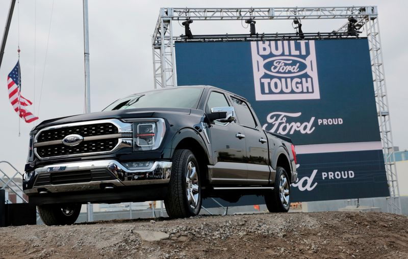FILE PHOTO: A 2021 Ford F-150 pickup truck at the Rouge Complex in Dearborn, Michigan