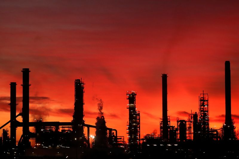 French oil giant Total Refinery is seen during sunset in Donges