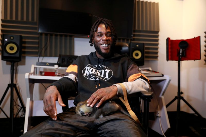 Nigerian music artist, Burna boy, attends an interview with Reuters at his studio in Lagos