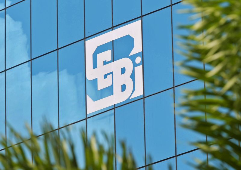 FILE PHOTO: Logo of SEBI is seen on the facade of its head office building in Mumbai, India