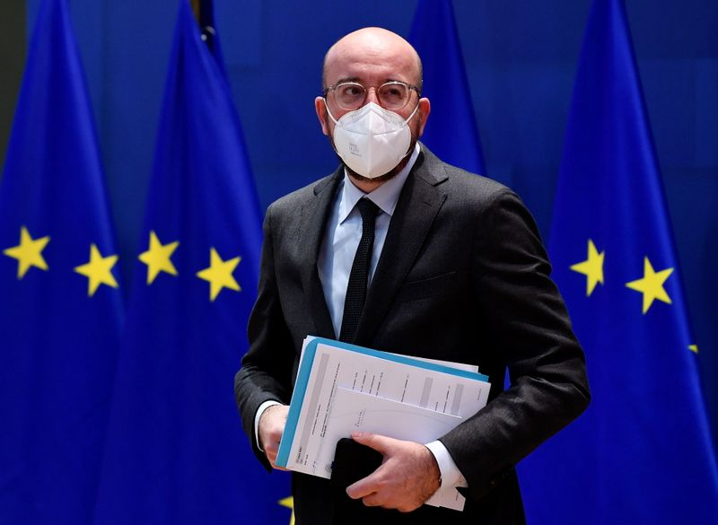 European Council President Michel holds video conference in Brussels