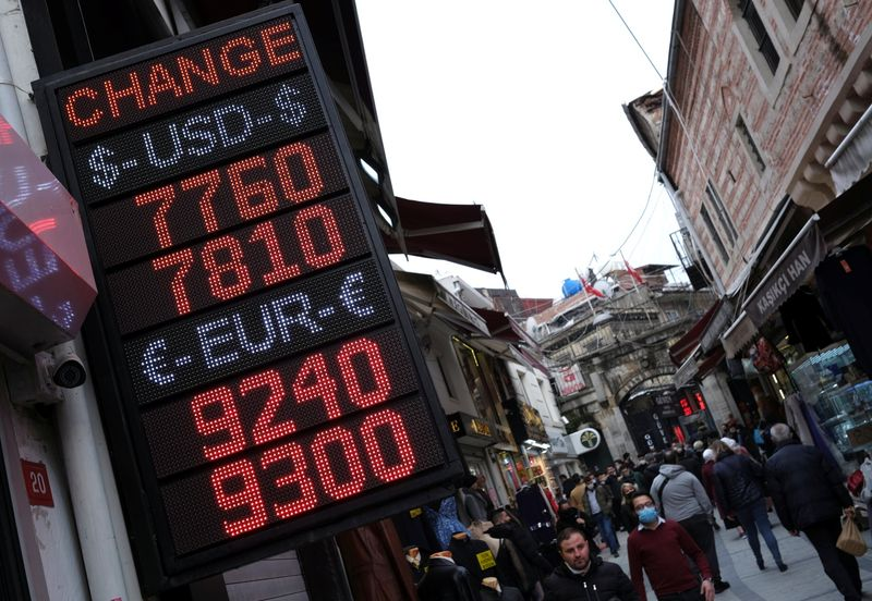A board shows the currency exchange rates outside an exchange office in Istanbul
