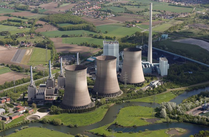 FILE PHOTO: An aerial picture shows the four natural-gas power plants