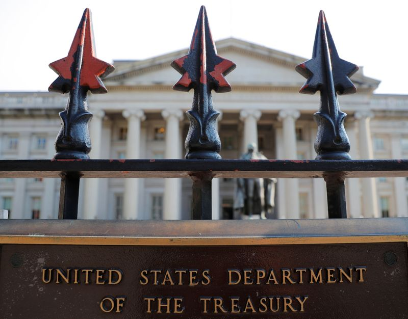 A sign marks the U.S Treasury Department in Washington