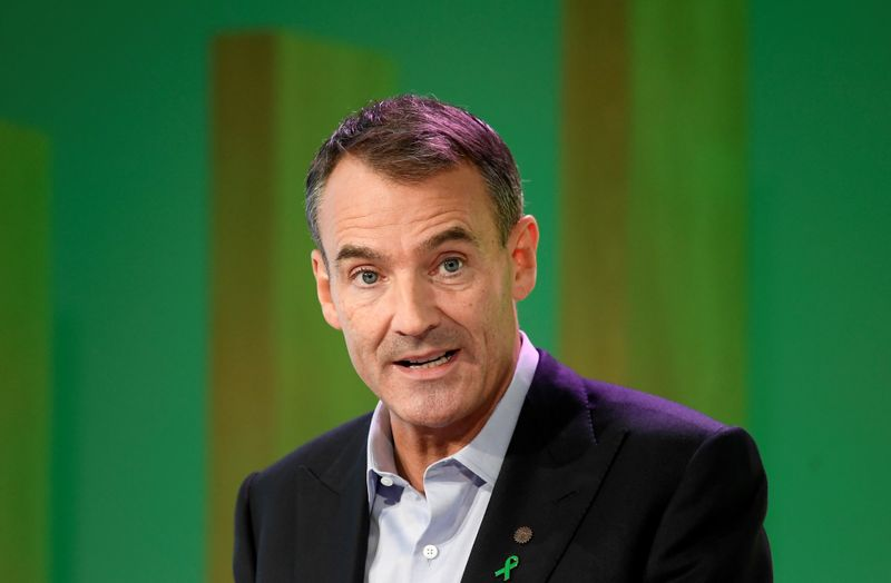 FILE PHOTO: BP's new Chief Executive Bernard Looney gives a speech in central London