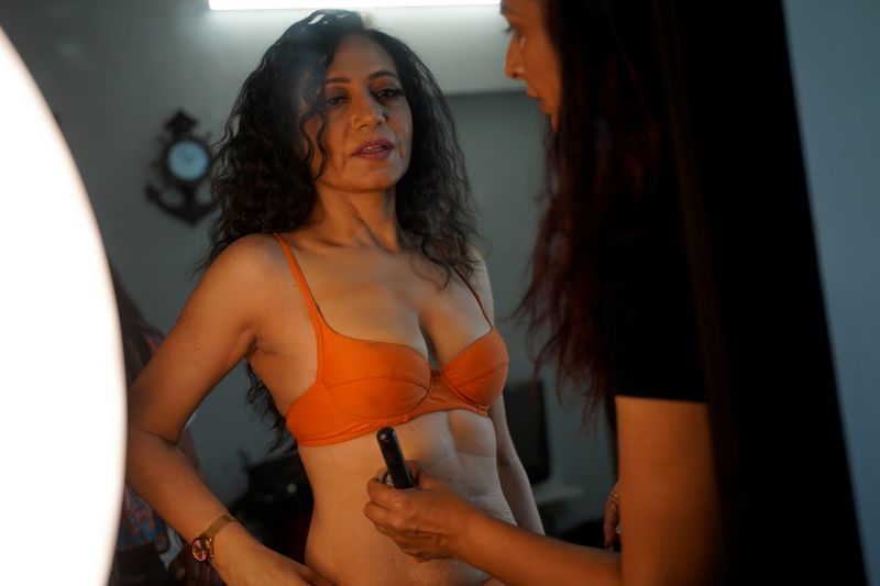 Geeta J gets ready for a lingerie photoshoot inside a studio in Mumbai