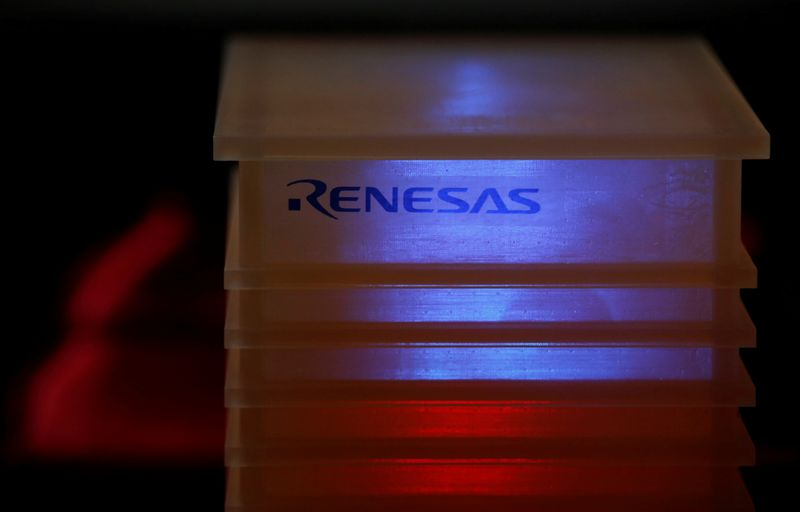 FILE PHOTO: Renesas Electronics Corp's logo is seen a company conference in Tokyo