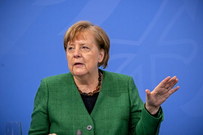 German Chancellor Angela Merkel attends a news conference after discussing COVID-19 lockdown extension with state premiers
