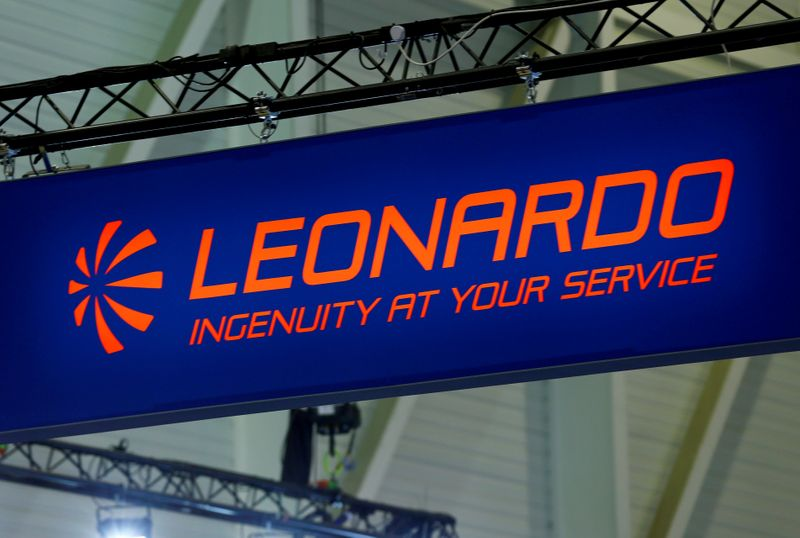 FILE PHOTO: FILE PHOTO: A logo of defence group Leonardo is pictured on their booth during EBACE in Geneva