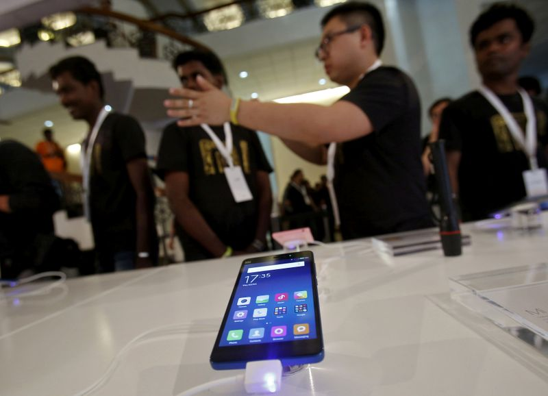 FILE PHOTO: A Xiaomi's Mi 4i phone is kept on display at the venue during its launch in New Delhi