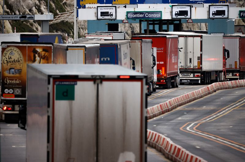 FILE PHOTO: Lorries queue at border control for the British port of Dover
