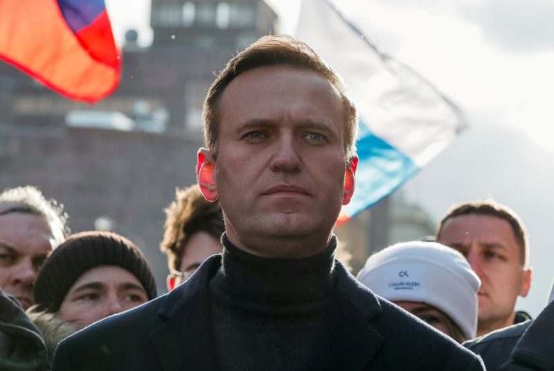 FILE PHOTO: Russian opposition politician Alexei Navalny takes part in a rally in Moscow