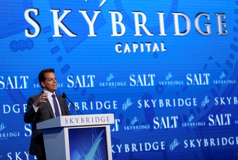 FILE PHOTO: Anthony Scaramucci, Founder and Co-Managing Partner at SkyBridge Capital, speaks during the opening remarks during the SALT conference in Las Vegas
