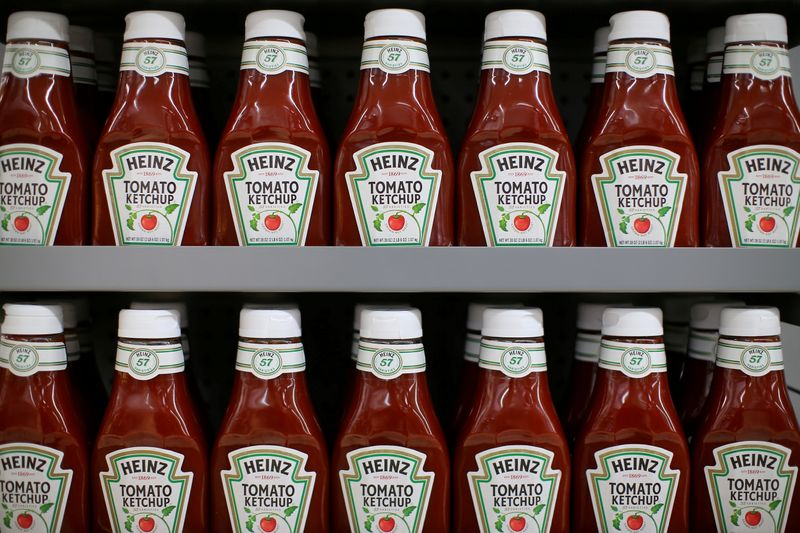 FILE PHOTO: FILE PHOTO: Heinz tomato ketchup is show on display during a preview of a new Walmart Super Center prior to its opening in Compton, California