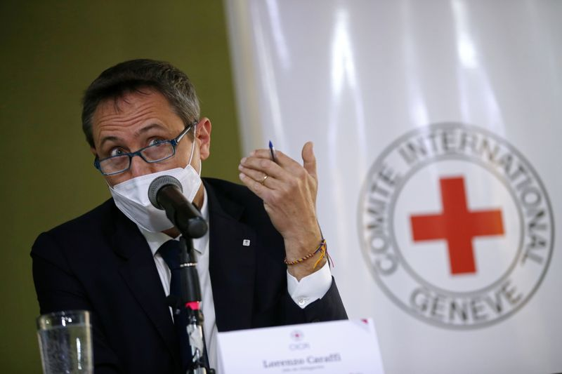 Lorenzo Caraffi, head of International Committee of the Red Cross (ICRC) delegation in Colombia, speaks during a news conference in Bogota