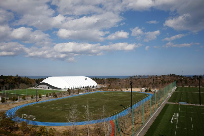 View of J-Village training center where torch relay of the Tokyo 2020 Olympic Games is set to begin in Naraha