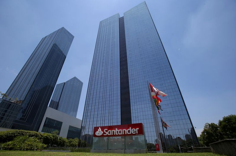 FILE PHOTO: Santander bank office building is seen in Sao Paulo