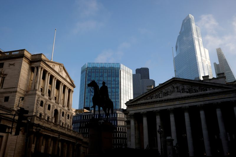 FILE PHOTO: FILE PHOTO: A view of The Bank of England and the City of London financial district in London, Britain