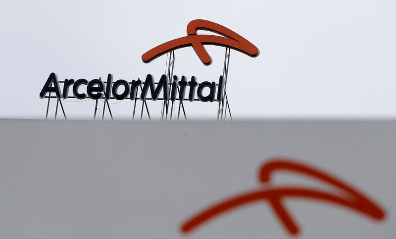 A logo is seen on the roof of the ArcelorMittal steelworks headquarters in Ostrava