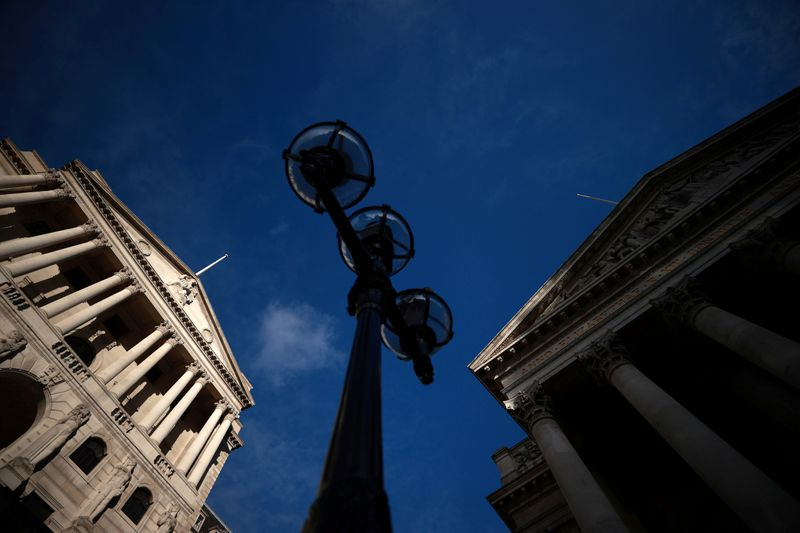 FILE PHOTO: A general view shows the Bank of England and the Royal Exchange Building in London