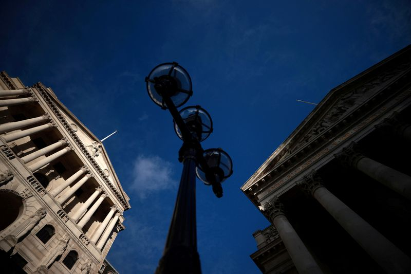 FILE PHOTO: FILE PHOTO: A general view shows the Bank of England and the Royal Exchange Building in London