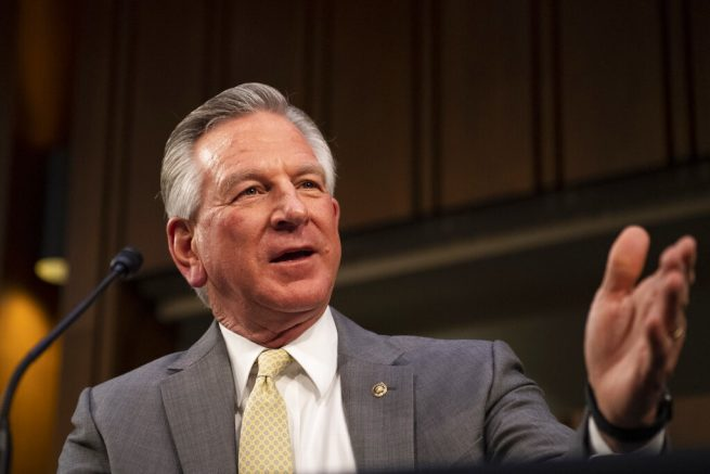 Sen. Tommy Tuberville, R-Ala., speaks during a Senate Health, Education, Labor, and Pensions committee on Capitol Hill in Washington on Thursday, Feb. 25, 2021. (Caroline Brehman/Pool via AP)