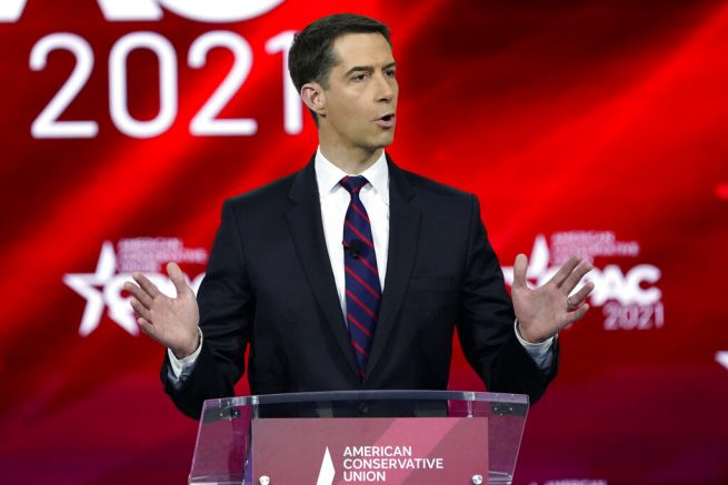 Sen. Tom Cotton, R-Ark., speaks at the Conservative Political Action Conference (CPAC) Friday, Feb. 26, 2021, in Orlando, Fla. (AP Photo/John Raoux)