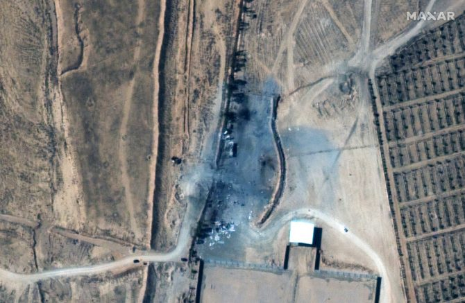 This satellite image provided Maxar Technologies shows buildings that were destroyed by a U.S. air strike in Syria. The United States launched airstrikes in Syria on Thursday, Feb. 25, 2021 targeting facilities near the Iraqi border used by Iranian-backed militia groups. The Pentagon said the strikes were retaliation for a rocket attack in Iraq earlier this month that killed one civilian contractor and wounded a U.S. service member and other coalition troops. (Satellite image ©2021 Maxar Technologies via AP)