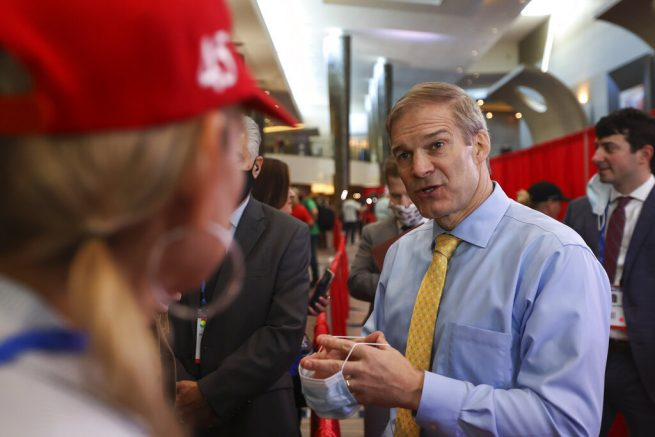 Rep. Jim Jordan speaks with supporters at CPAC at the Hyatt Regency in Orlando, Fla. on Sunday, Feb. 28, 2021. (Sam Thomas/Orlando Sentinel via AP)