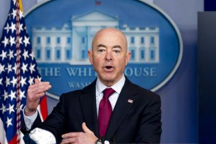 Homeland Security Secretary Alejandro Mayorkas speaks during a press briefing at the White House, Monday, March 1, 2021, in Washington. (AP Photo/Andrew Harnik)