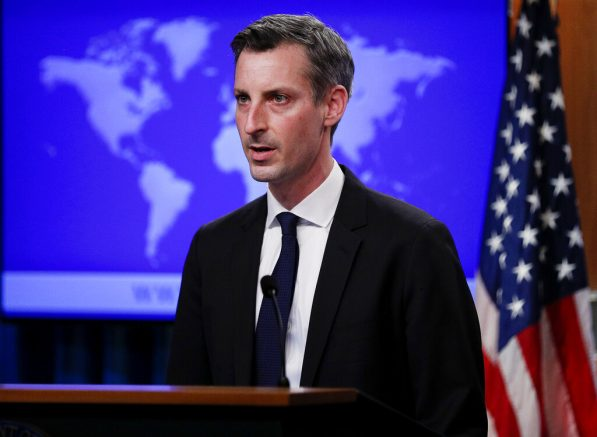 State Department Spokesman Ned Price speaks to reporters during a news briefing at the State Department in Washington, on Monday, March 1, 2021. (Tom Brenner/Pool via AP)