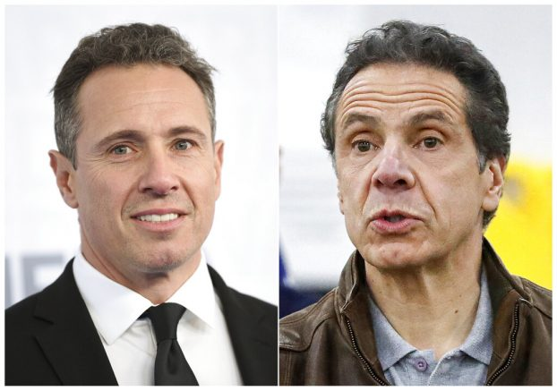 FILE - This combination file photo shows CNN news anchor Chris Cuomo at the WarnerMedia Upfront in New York on May 15, 2019, left, and New York Gov. Andrew Cuomo speaking during a news conference in New York on March 23, 2020. CNN host Chris Cuomo told viewers on Monday, March 1, 2021, that he 'obviously' could not cover the charges against his older brother, New York Gov. Andrew Cuomo. New York's leader has been accused of sexual harassment by two women who work in state government. But Chris Cuomo said he understands CNN has to cover it, and said he cares profoundly about the issues brought up by the women who have accused his brother. (AP Photo/File)