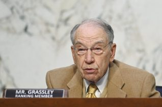 Sen. Chuck Grassley, R-Iowa, speaks as FBI Director Christopher Wray testifies before the Senate Judiciary Committee on Capitol Hill in Washington, Tuesday, March 2, 2021. (Mandel Ngan/Pool via AP)