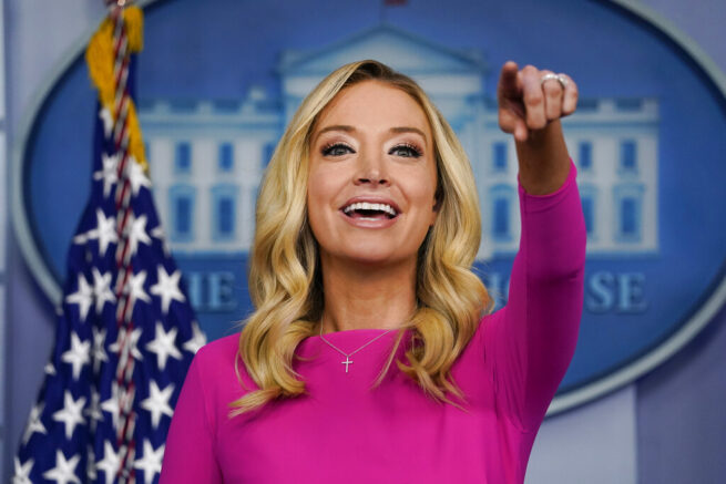 FILE - In this Dec. 2, 2020 file photo, White House press secretary Kayleigh McEnany speaks during a briefing at the White House in Washington. McEnany has signed on as a Fox News contributor. (AP Photo/Evan Vucci)